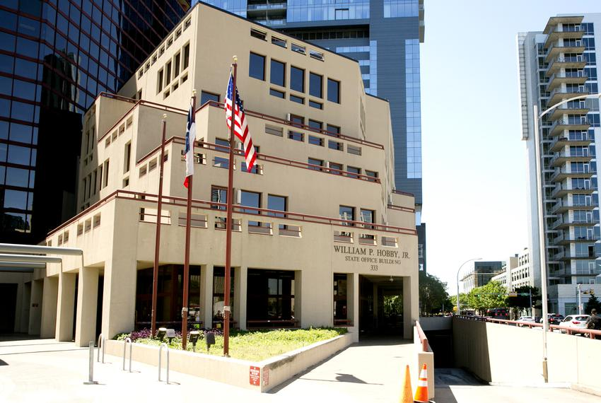 The William P. Hobby Jr. building in Austin on April 26, 2019. The downtown office building houses several small state age...