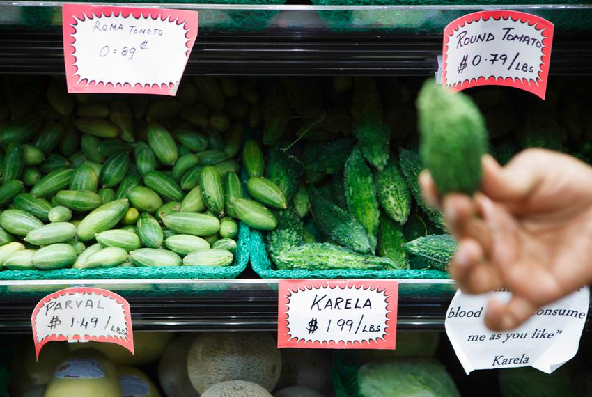Parval (pointed gourd) and Karela (bitter melon) are available at Keemat Grocers, an Indian grocery store in Sugar Land that…