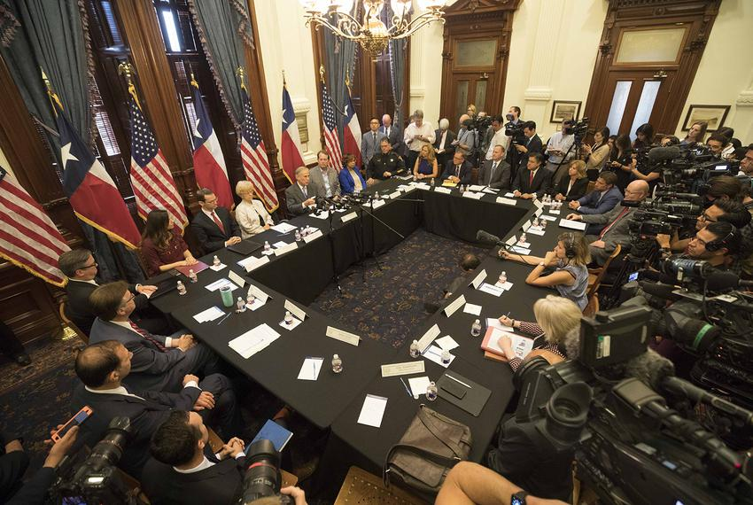 Texas Governor Greg Abbott convenes the second of three panels studying school safety and student mental health issues at th…