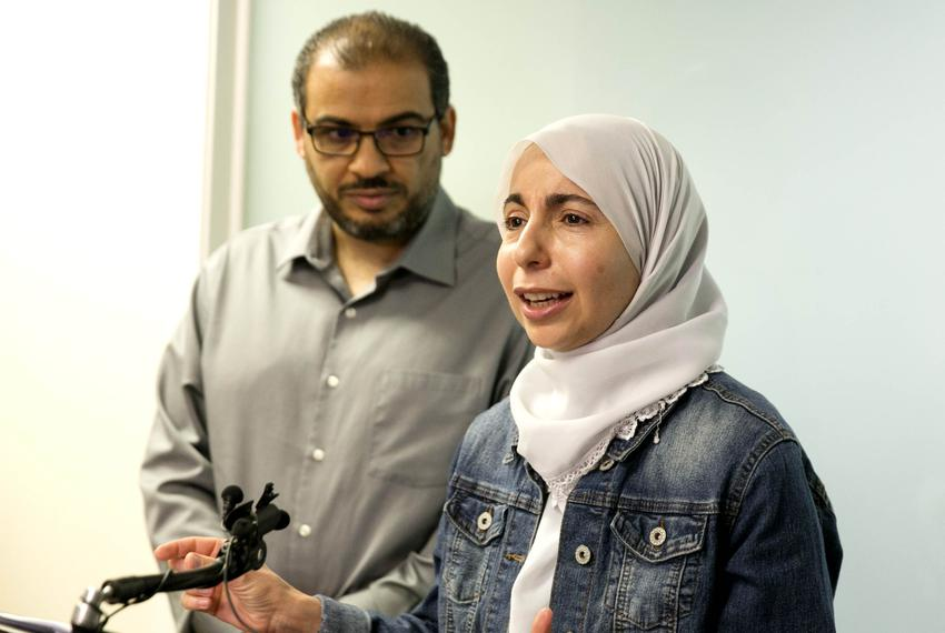 Bahia Amawi speaks to media at the Council of American-Islamic Relations (CAIR) office on April 26, 2019. CAIR won a victo...