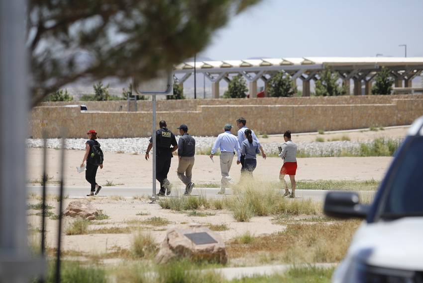 Castro, Udall and O\u0027Rourke, accompanied by aides and a Department of Homeland Security officer, approach the tent city in Tornillo.