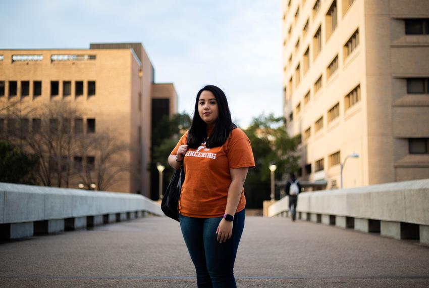 Low incone UT students like Aerospace Engineering sophomore Alyssa Garza could benefit from greater financial assistance w...