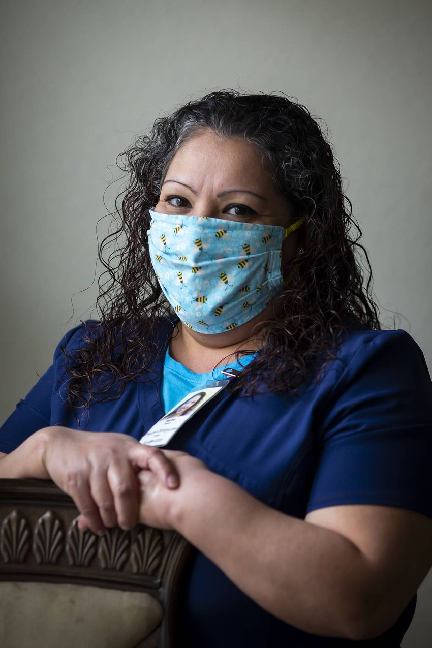 Health care worker Rachel Fuentes in her home in north Houston on Saturday, Feb. 6, 2020. Fuentes has been an in-home caregi…