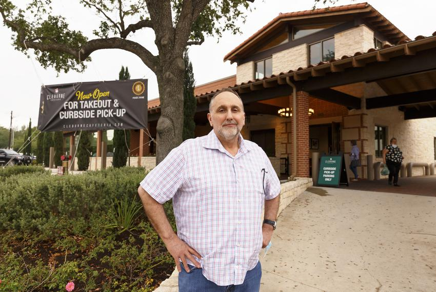Cleburne Cafeteria owner George Mickelis outside his restaurant on April 28, 2020. The restaurant has been open for carry ou…
