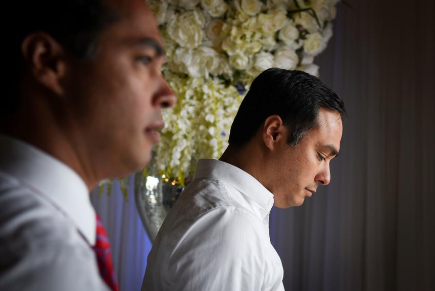 Former Housing and Urban Development Secretary Julian Castro and U.S. Rep. Joaquin Castro, D-Texas, in Brownsville in 2018.