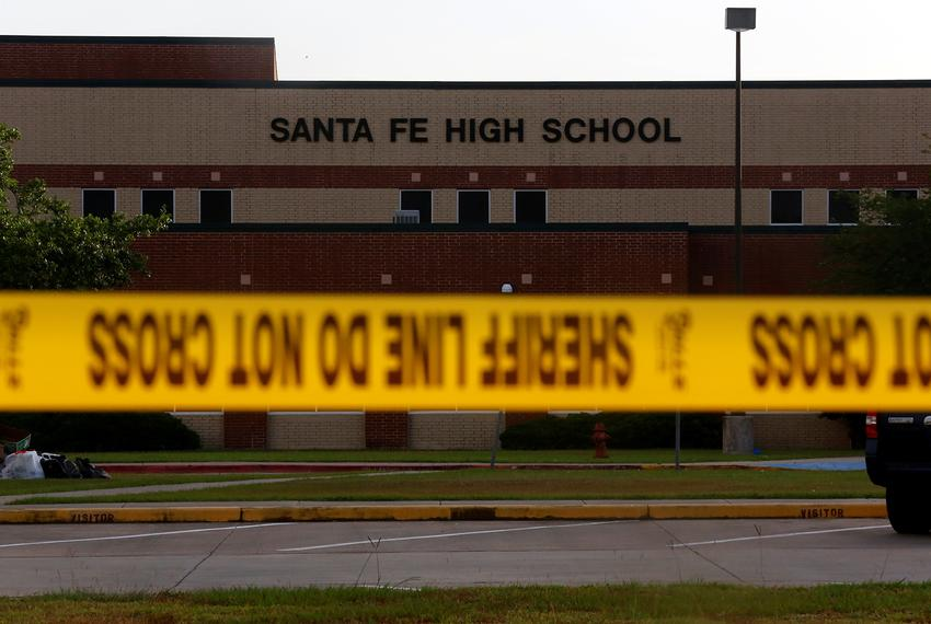 Police tape in front of Santa Fe High School in Santa Fe, Texas, on May 20, 2018.