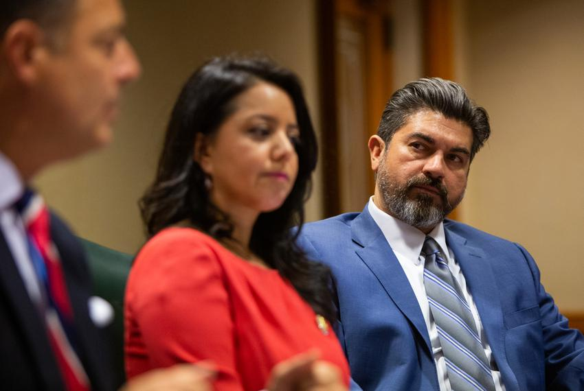 State Representative Eddie Rodriguez during the Mexican American Legislative Caucus and House Elections Commitee press con...