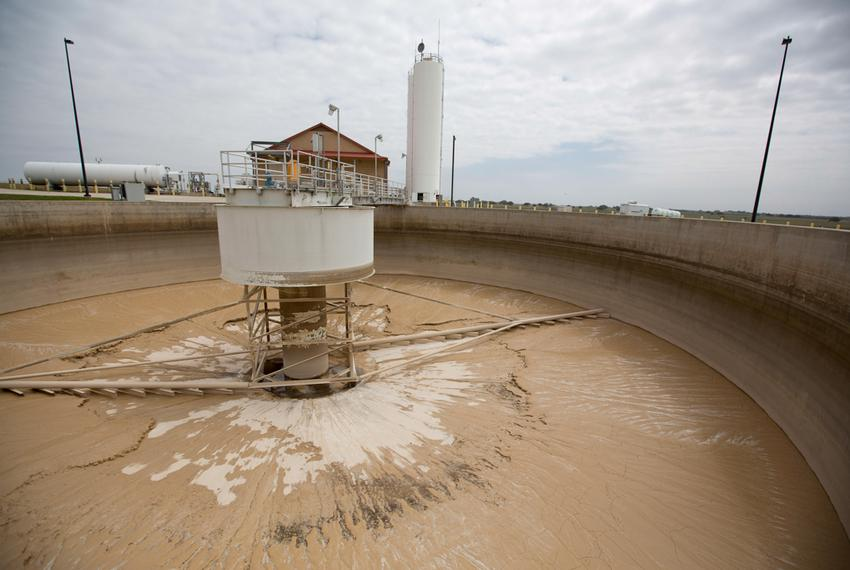 A sludge thickener on the site of the Twin Oaks Valley Water Treatment Plant outside of San Antonio, where the San Antonio...