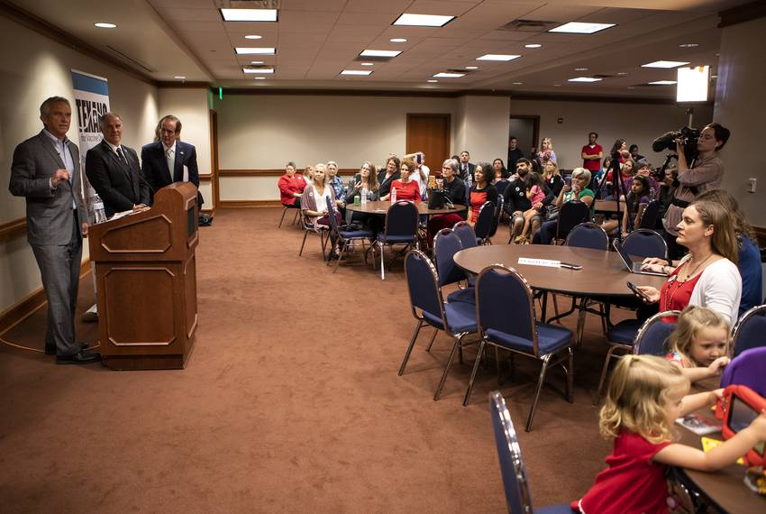 Vaccine skeptic Robert Kennedy Jr. speaks at a Texans for Vaccine Choice event at the State Capitol on May 3, 2019. To his...