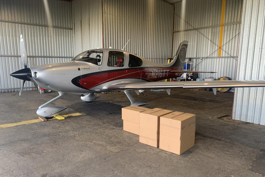 Scott Gloyna flies this Cirrus 22 to deliver medical supplies in West Texas.