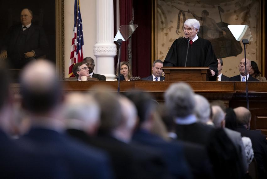 Chief Justice Nathan L. Hecht speaks at the State of the Judiciary at the capitol. Feb. 5, 2019.