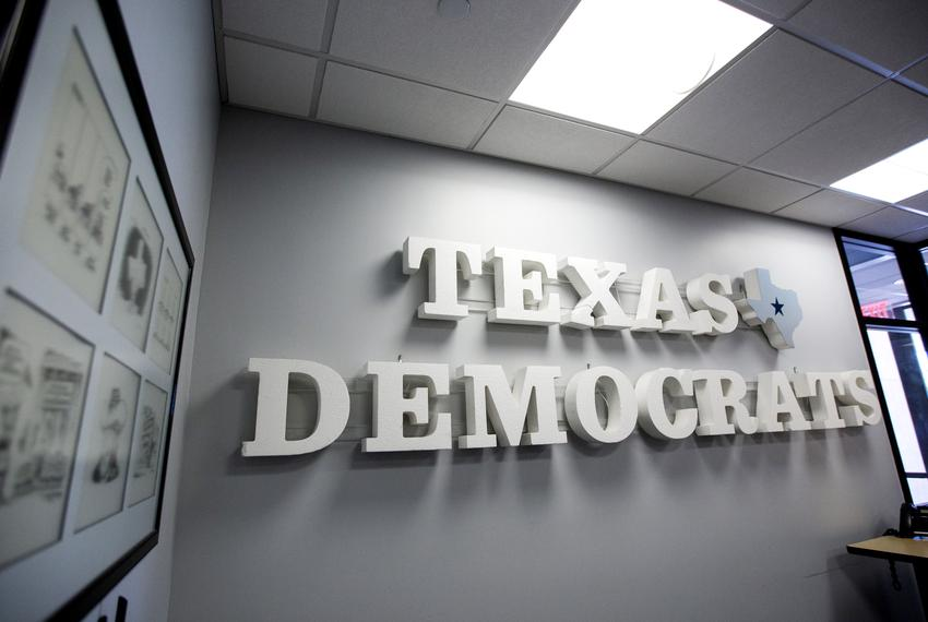 Democratic Party signage and logos at the Texas Democratic Party office in Austin on Oct. 8, 2019.