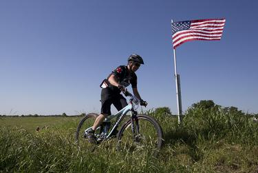 """A rider tops """"Mount McKinnon,"""" named for former Bush adviser Mark McKinnon."""