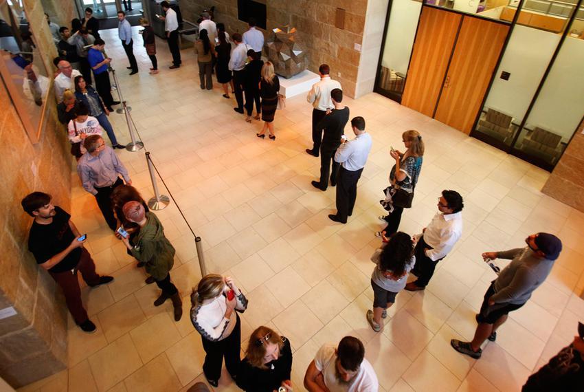 Voters inside Austin City Hall on Nov. 4, 2014.