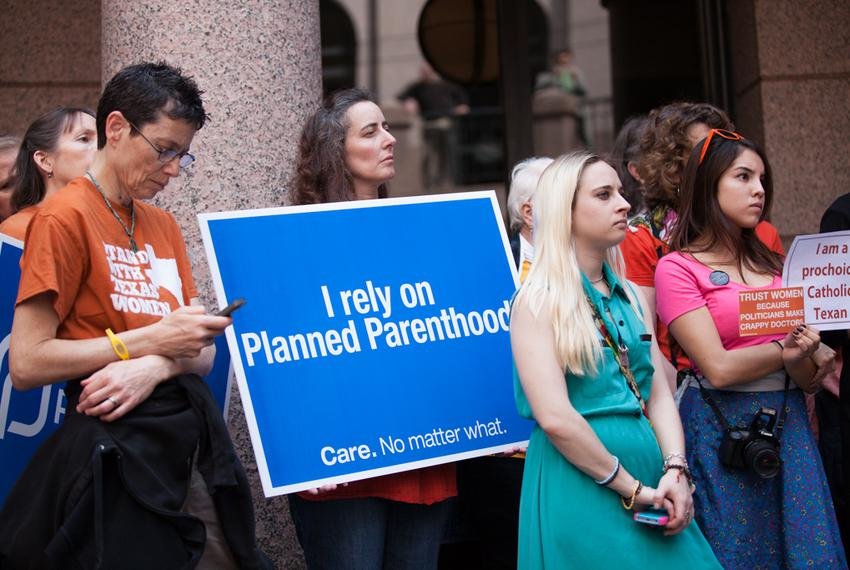 Abortion rights advocates gathered at the Texas Capitol in February to protest strict abortion regulations lawmakers approve…