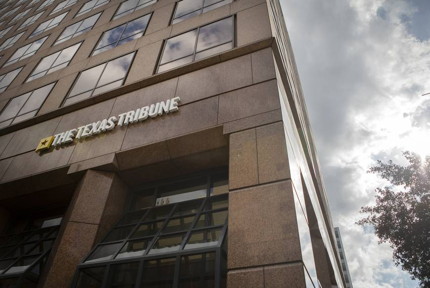 The exterior of the Texas Tribune office in downtown Austin on Nov. 5, 2019.