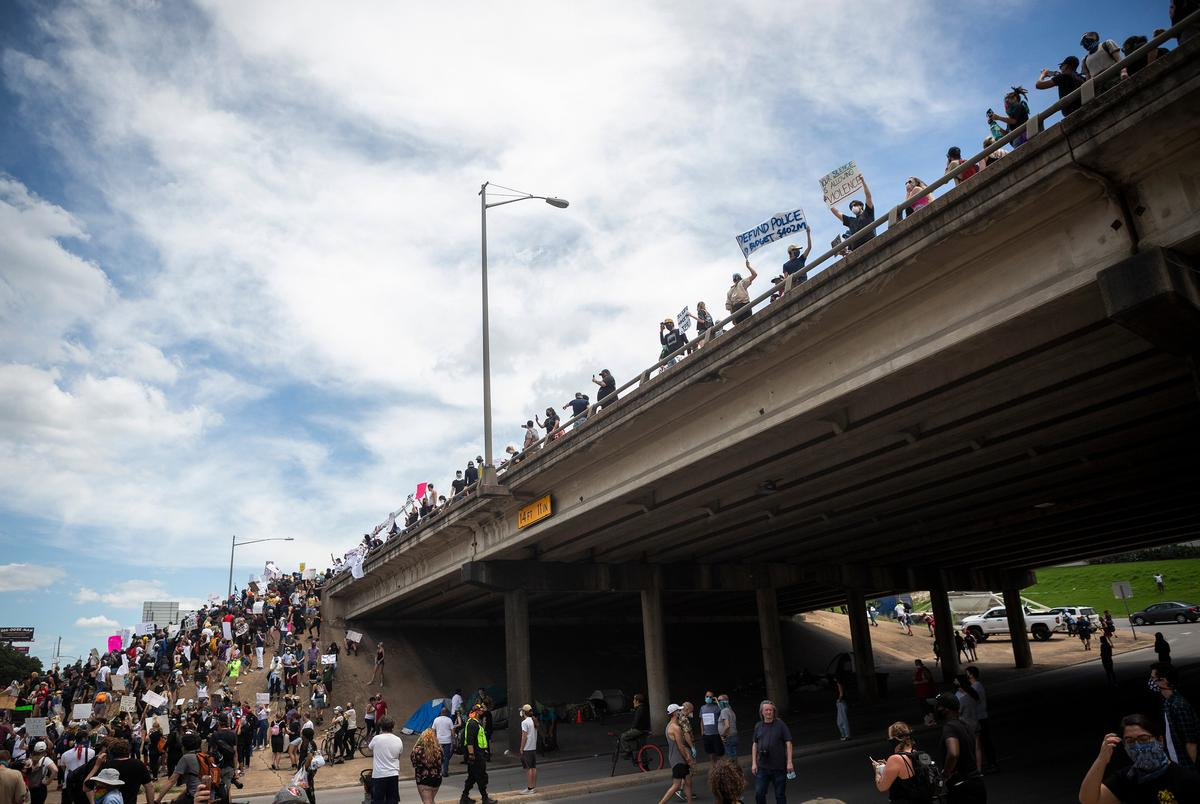 Hundreds of protesters met at the Austin Police Headquaerters in downtown Austin and proceeded to take over both sides of Interstate 35. The protest followed the deaths of George Floyd in Minneapolis, MN and Mike Ramos in Austin, both by police officers.