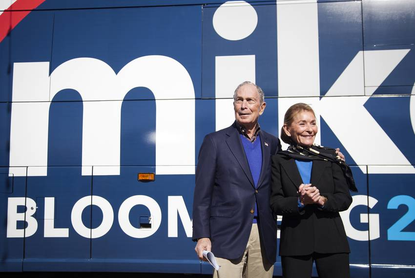 Democratic Presidental Michael Bloomberg and Judge Judy Shendlin pose for photographs at his rally at Central Machine Work...