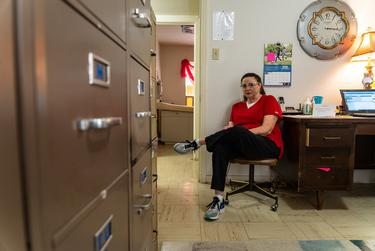 Brenda Seely waits for her next patient at the Midway Family Planning clinic in Brownwood.