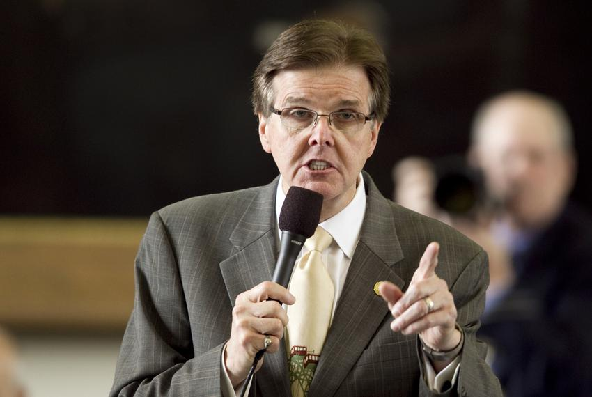 Sen. Dan Patrick R-Houston, listens to debate on SB1380 which relates to placement of video monitoring cameras in certain cl…