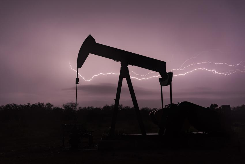 An oil pump jack during a storm in Refugio County in 2017.