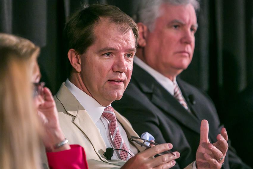 Texas Supreme Court Justice Don Willett, left, at The Texas Tribune Festival on Sept. 20, 2014.