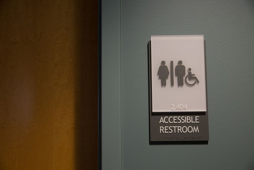 An accessible unisex bathroom at The University of Texas at Austin.