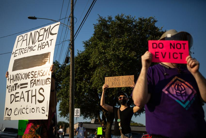 Demonstrators rally against evictions outside the Harris County Courthouse in Houston on Aug. 21, 2020.