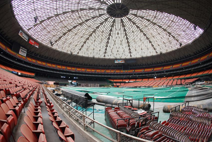 AstroTurf was dragged out of storage after a small electrical fire and water damage in the Astrodome last year. One of Houst…