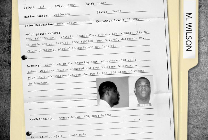 The death row file for Marvin Wilson, who was executed in 2012 for the 1992 murder of Jerry Robert Williams of Beaumont. W...