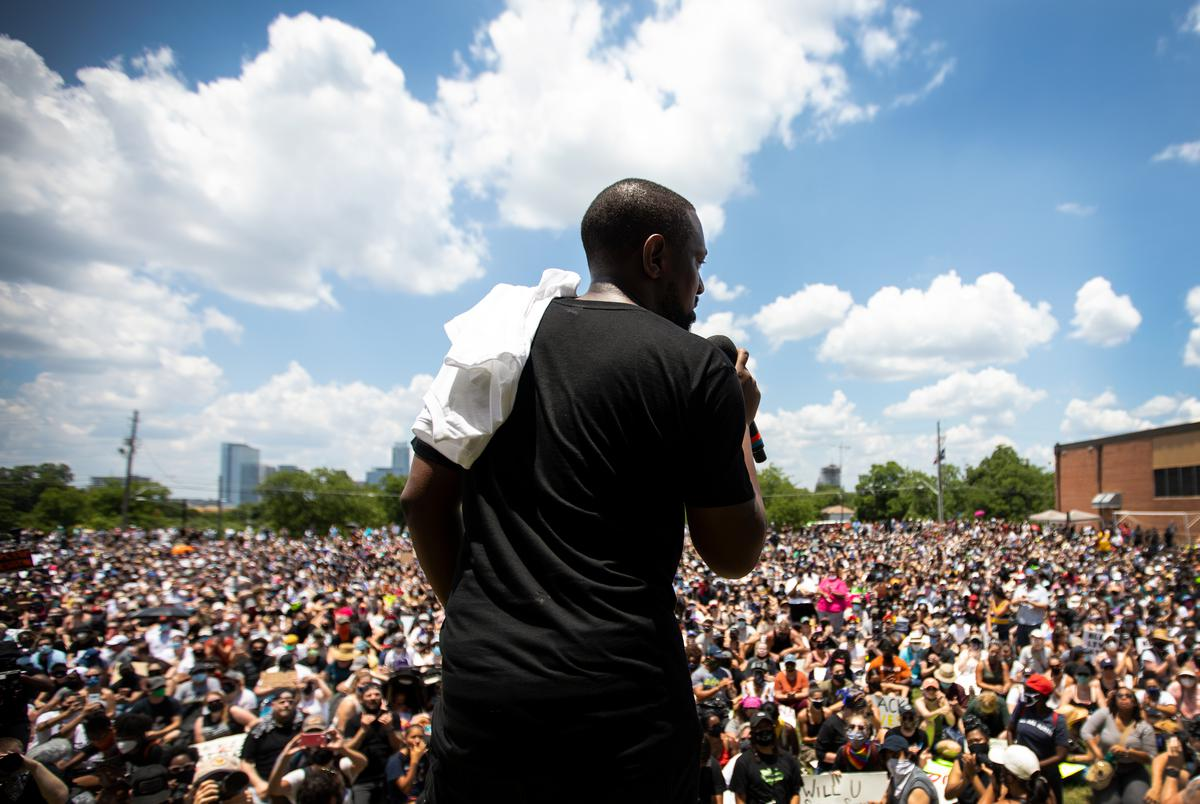 Austin Justice Coalition founder Chas Moore speaks to more than 5,000 people gathered at Huston-Tillotson University for Black Austin Rally & March For Black Lives on June 7, 2020.