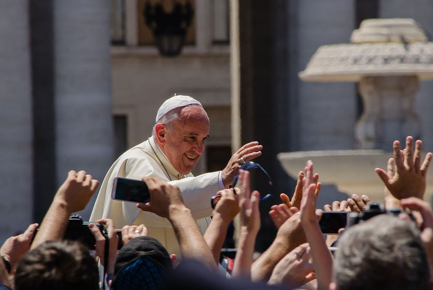 Pope Francis in St. Peter's square in Vatican City June 6, 2014.