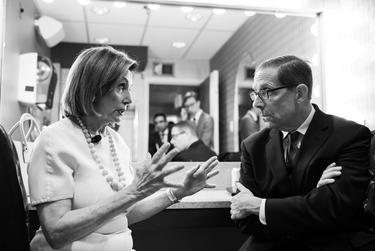 U.S. House Speaker Nancy Pelosi chats with Texas Tribune CEO Evan Smith during the Texas Tribune Festival on Sept. 28, 2019.