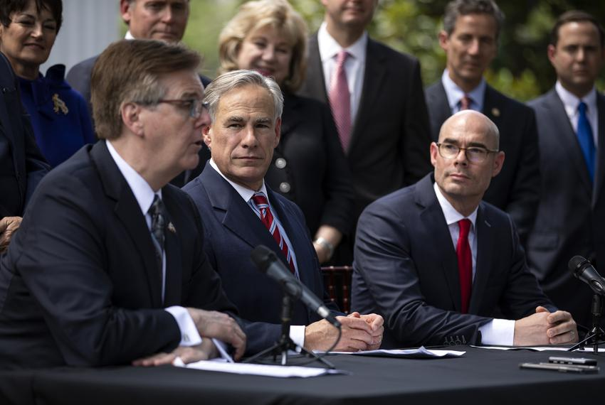 Lt. Gov. Dan Patrick, Gov. Greg Abbott and House Speaker Dennis Bonnen are joined by state legislators at a press conferen...