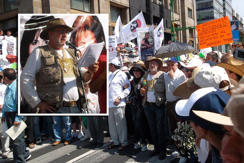 Mexican poet, Javier Sicilia, speaks before a crowd of supporters in Mexico City on May 8th, 2011.