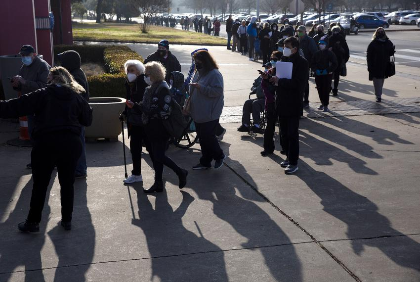 Long lines formed in Fair Park, where Dallas County opened its first mega vaccination site.
