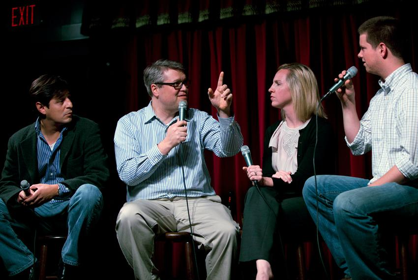Julián Aguilar, Ben Philpott, Emily Ramshaw and Reeve Hamilton talk at KUT's Views and Brews for the Tribune's Tribcast on A…