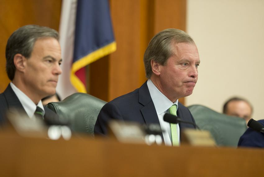 Lt. Gov. David Dewhurst (right) and House Speaker Joe Straus listened to testimony on the cost of the continuing border su...