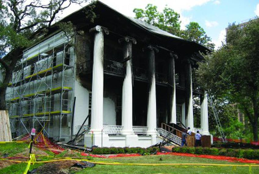 The iconic Texas Governor's Mansion was nearly demolished by fire in June 2008 after an arsonist hurled a Molotov cocktail a…