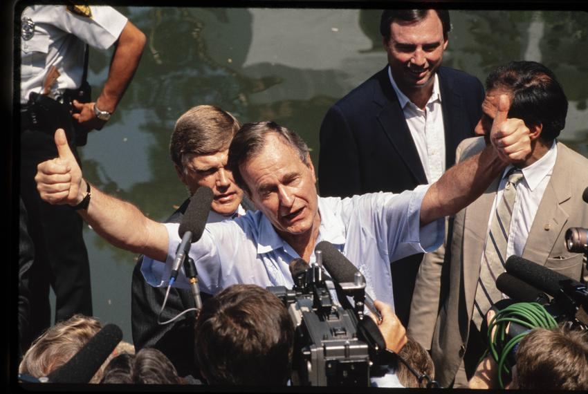 Presidential Candidate George H.W. Bush campaigns on the San Antonio Riverwalk in August, 1988.