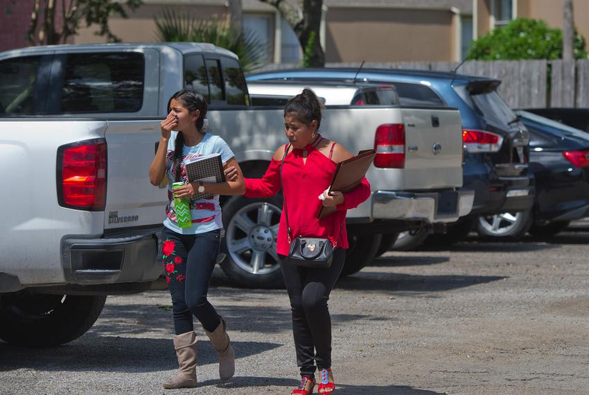 Mercedes (right), a Salvadoran asylum seeker, is reunited with her daughter, Maria, in Corpus Christi on July 13, 2018. The …