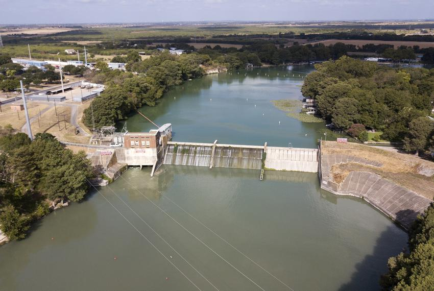 An aerial shot of the dam on Lake McQueeny near Seguin on Aug. 30, 2019.
