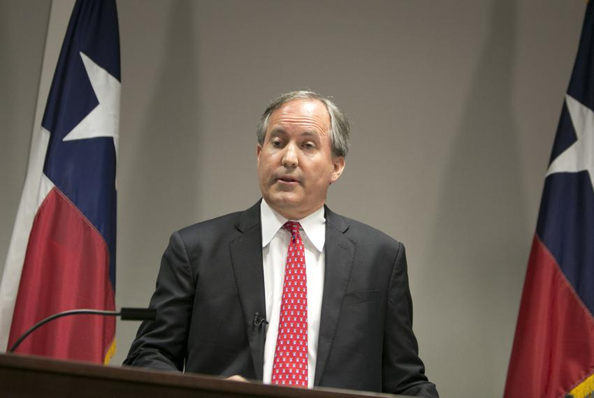 Texas Attorney General Ken Paxton during a press conference announcing a lawsuit filed against the U.S. Department of Educ...