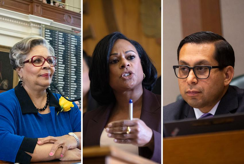 From left, Democratic state Reps. Senfronia Thompson, Nicole Collier and Diego Bernal.