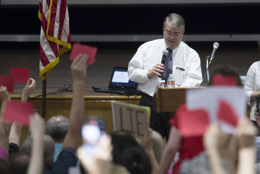 U.S. Rep. John Culberson, R-Houston, speaks at a town hall meeting in Houston on March 25, 2017.