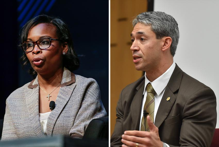 Incumbent San Antonio Mayor Ivy Taylor (left) will face challenger Ron Nirenberg in a runoff.