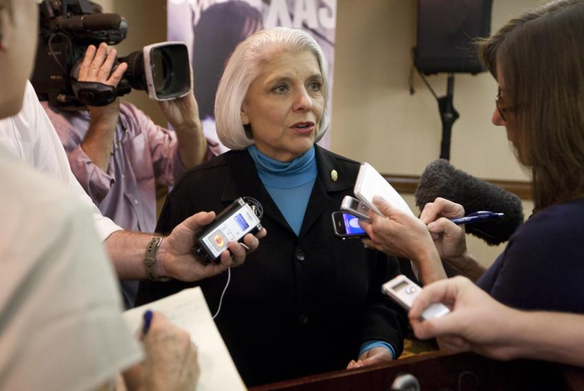 Sen. Judith Zaffirini, D-Laredo, speaks to reporters on Oct. 4, 2012. She was replaced as the Senate Higher Education Commit…