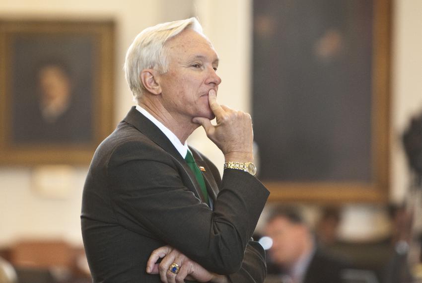 Sen. Steve Ogden, R-Bryan, chairman of the Senate Finance Committee, listens to debate after bringing budget bill CSHB1 to t…