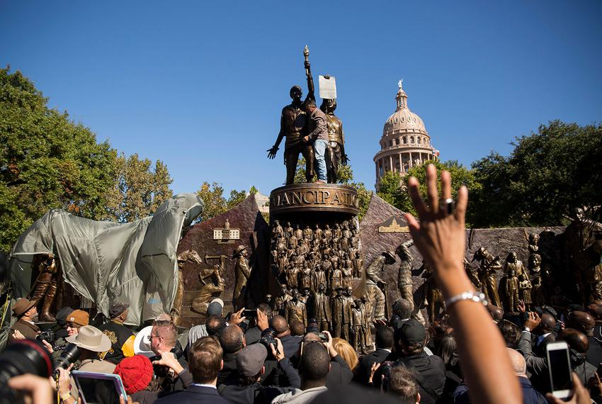 Hundreds of guests gathered on the south lawn of the Texas Capitol to mark the unveiling of the Texas African American His...