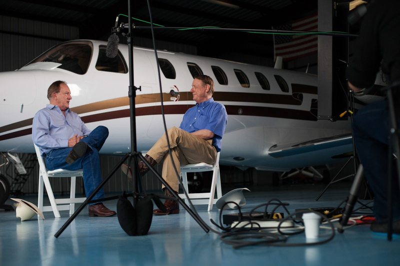 Texas A&M University System Board Chairman Richard Box and current Regent Jim Schwertner participate in an interview for a new movie, produced by John Robison, that revisits Texas A&M University's decision to move to the SEC.